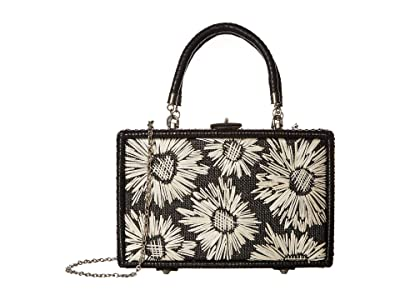 Patricia Nash Wicker Lamezia Satchel (Black/White Straw Flowers) Satchel Handbags