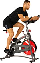 Sunny Health & Fitness Belt Drive Indoor Cycling Bike with LCD Monitor, 40 LB Chrome Flywheel, 265 LB Max Weight - SF-B1423/C