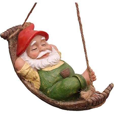 TERESA'S COLLECTIONS Funny Gnomes Garden Decorations Outdoor Hanging Statue, Fairy Garden Gnome Swinging Leaf Hammock Figurine Resin Tree Ornaments for Home Patio Yard Lawn, 7.4 Inch