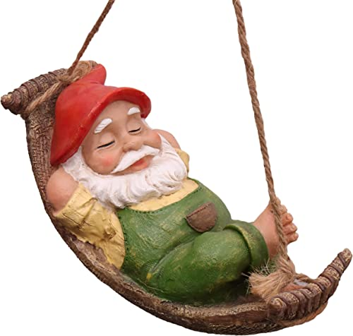 TERESA'S COLLECTIONS 7.4 Inch Funny Garden Gnomes Outdoor Hanging Statue, Fairy Garden Swinging Leaf Hammock Gnome Fi...