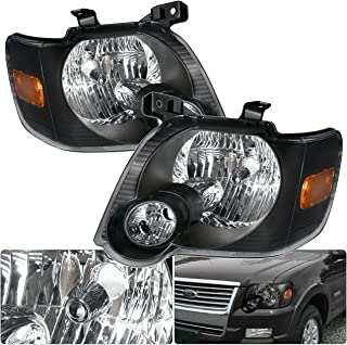 For Ford Explorer Sport Trac Front Driving Black Housing Amber Reflector Headlight Head Lamp Upgrade Replacement
