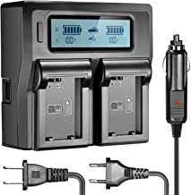 Neewer LCD Battery Charger for Sony NP-FW50 Batteries Compatible with Sony NEX-3 NEX-5 NEX-6 NEX-7 NEX-C3 NEX-F3 SLT-A33 SLT-A37 SLT-A55(US Plug + EU Plug + Car Charger Adapter)