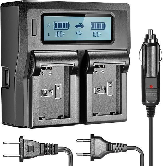 Neewer LCD Cargador Batería para Sony NP-FW50 Compatible con Sony NEX-3/5/6/7 Sony a7II a7RII a7sII a7s a7 a7R A6000 A6300 SLT-A33 A37 A55 (Enchufe de EE. UU. + Enchufe de la UE + Adaptador de Coche)
