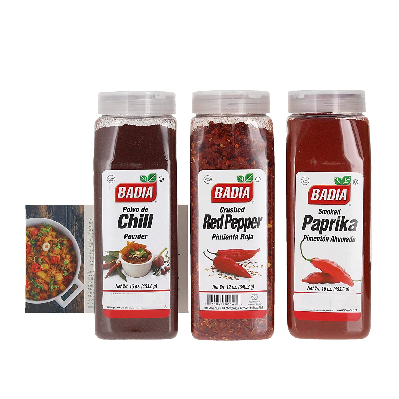half Badia Chili Powder Smoked Paprika and Bundl Crushed Red Complete Free Shipping Pepper