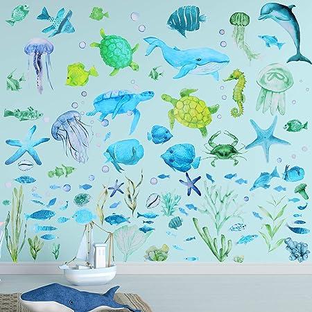 Ocean Big Fish Wall Decal Stickers Kids Underwater Sea Life Room Decor Under the Sea Aquarium Cute Fish Baby Nursery Nautical SWIM RIGHT
