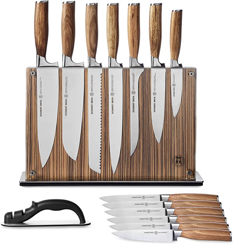 Schmidt Brothers Zebra Wood 15 Piece Knife Set High Carbon Stainless Steel Cutlery With Zebra Wood And Acrylic Magnetic Knife Block And Knife Sharpener