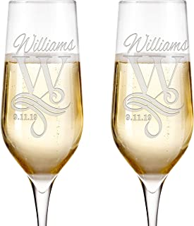 Set of 2, Personalized Mr Mrs Wedding Champagne Flutes - Bride and Groom Champagne Glasses w/ Last Name and Date, Custom Engraved Mr and Mrs Champagne Glass | Wedding Toasting Glasses #4