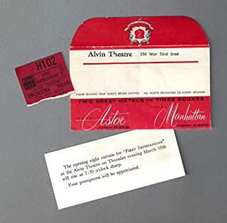"""Polly Bergen""""FIRST IMPRESSIONS"""" Farley Granger/Hermione Gingold 1959 Broadway Opening Night Ticket Stub"""