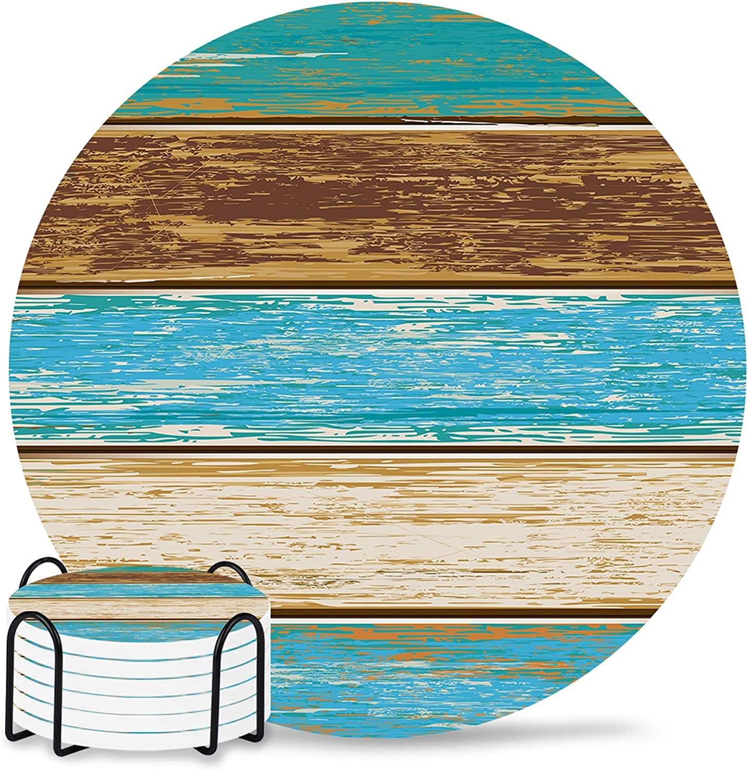 Country Farmhouse Super sale period limited Coasters Round Drinks Set Absorbent Bargain sale Coaster w