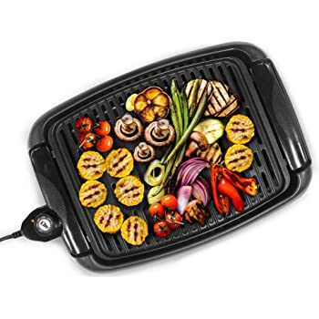 """Elite Gourmet Maxi-Matic EGL-3450 Indoor Electric BBQ Grill Nonstick Surface Adjustable Temperature Fast Heat Up Ideal For Low-Fat Meals, Dishwasher Safe, 13"""", Black"""