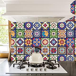 RoyalWallSkins Mexican Tile Decals 4x4 Inch - Set of 16 - Self Adhesive Peel and Stick Tile Stickers for Backsplash Bathroom Kitchen Home Decor (Zacatecas TAD160403)