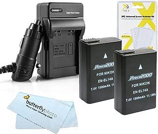 2 Pack Battery And Charger Kit For Nikon D5500, D5300, D3300, D5200, D5100, D3100, D3200, Nikon Df, P7700 Digital SLR Camera Includes 2 Replacement Nikon EN-EL14a, EN-EL14 Batteries (Fully Decoded!) +