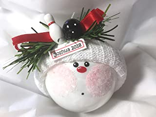 Bowling Sports Christmas Gift Glass Ornament Pin Ball Hand Painted Handmade Personalized