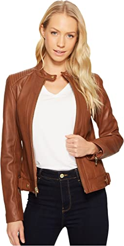 Leather Racer Jacket with Quilted Panels