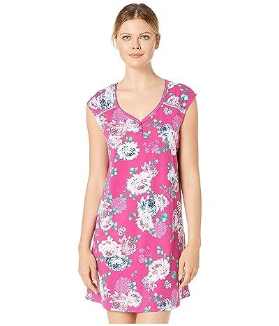 Karen Neuburger Dangerous Beauty Short Sleeve Nightshirt (Floral Festival Fuchsia) Women