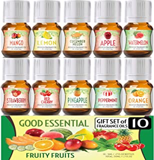 Fruity Fruits Good Essential Fragrance Oil Set (Pack of 10) 5ml Set Includes Strawberry, Apple, Watermelon, Pineapple, Cuc...