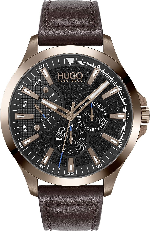 HUGO Reloj Analógico para Hombre de Cuarzo con Correa en Cuero 1530173