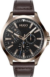 HUGO Homme Analogique Quartz Montre avec Bracelet en Cuir de Veau 1530173
