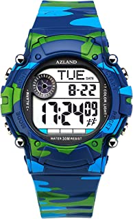 AZLAND 3 Multiple Alarms Reminder Sports Kids Wristwatch Waterproof Boys Girls Digital Watches