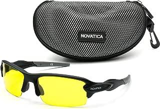 NOVATICA Shooting Glasses for Men Women – Anti Glare Yellow Semi Polarized TAC Glasses – UV Protection – Scratch Impact Resistant Yellow TAC Lenses - Sturdy TR90 Frame & Premium Hard Case