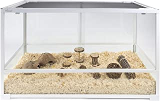 Niteangel Glass Pet Cage for Hamsters Gerbils Rats Mice Rodent - Raised Bottom Frame to Match Litter Height - Optimal air Circulation - Meet The Desire of Feeding a Hamster in a Terrarium