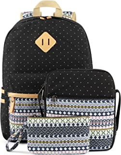 Plambag Canvas Backpack Set 3 Pcs, Casual Lightweight School Backpack for Women Teen Girls Black Star