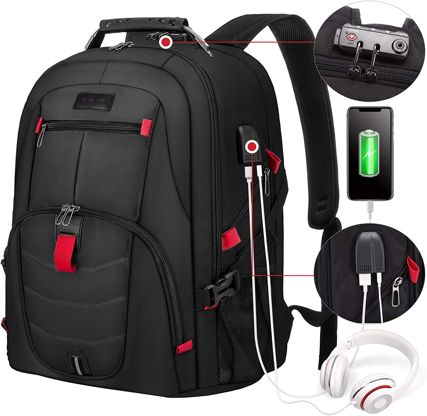 Travel Laptop Backpack Waterproof Anti Theft Backpack with Lock and USB Charging Port Large 17-17.3 Inch Computer Business Backpack for Men Women School College Backpack Black