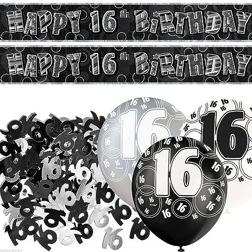 Black Age 16 Party Birthday Banner Glitz 16th Birthday