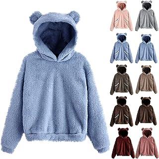 Cute Sweatshirts for Teen Girls,Women's Long Sleeve Bear Shape Fuzzy Pullover Fleece Hoodie Sweatshirt Top