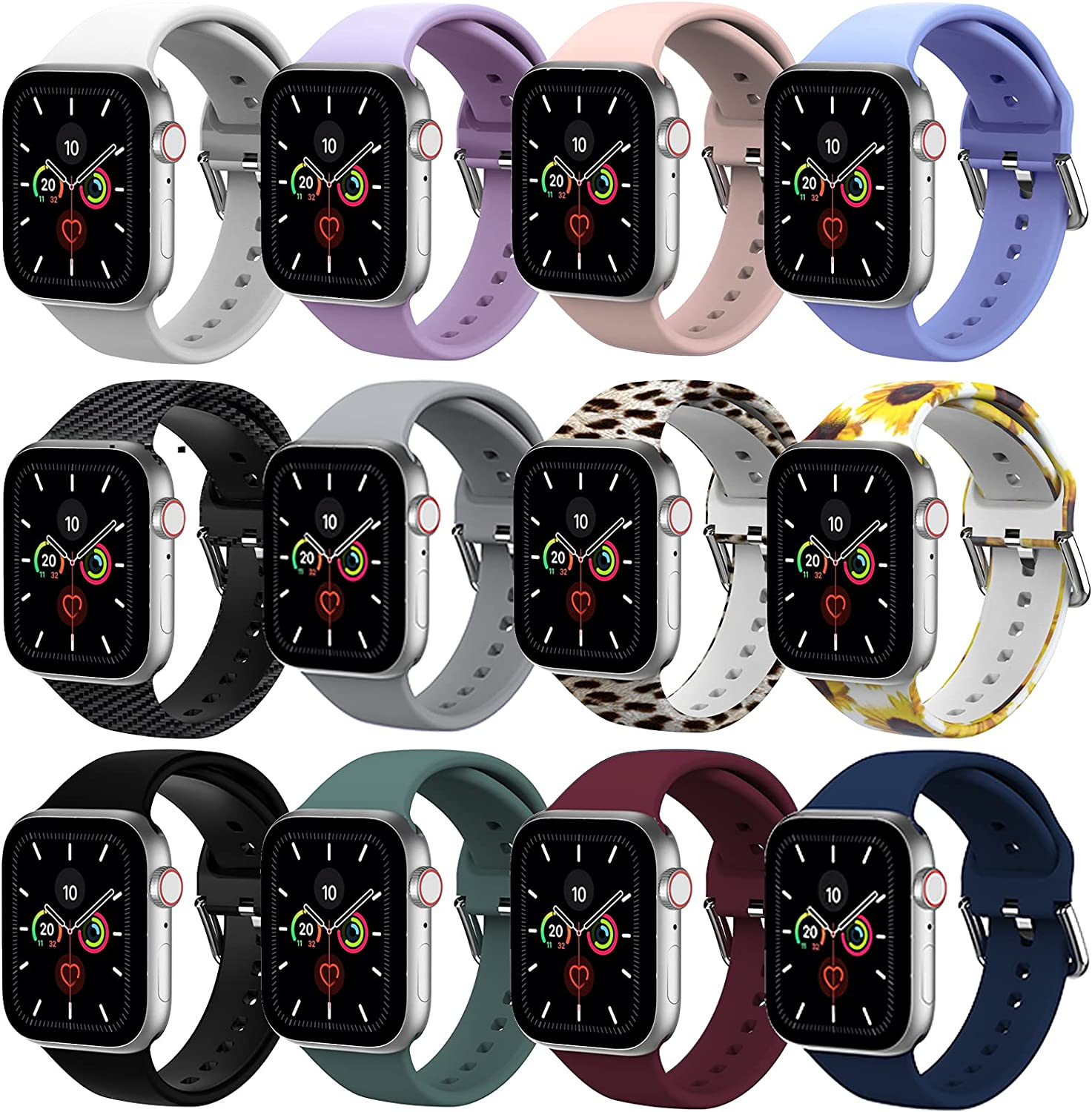 [12Pack] Bands for Apple Watch 38mm 40mm 41mm 42mm 44mm 45mm Men Women, KakuFunny Durable Silicone Replacement Strap Compatible with iWatch Series 7/6/5/4/3/2/1/SE (42mm/44mm/45mm)