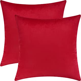 Mixhug Set of 2 Cozy Velvet Square Decorative Throw Pillow Covers for Couch and Bed, Red, 18 x 18 Inches