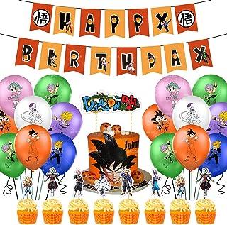 43pcs Suministros de fiesta de cumpleaños de Dragon Ball, las decoraciones de Dragon Ball Z incluyen adorno para tarta, ad...