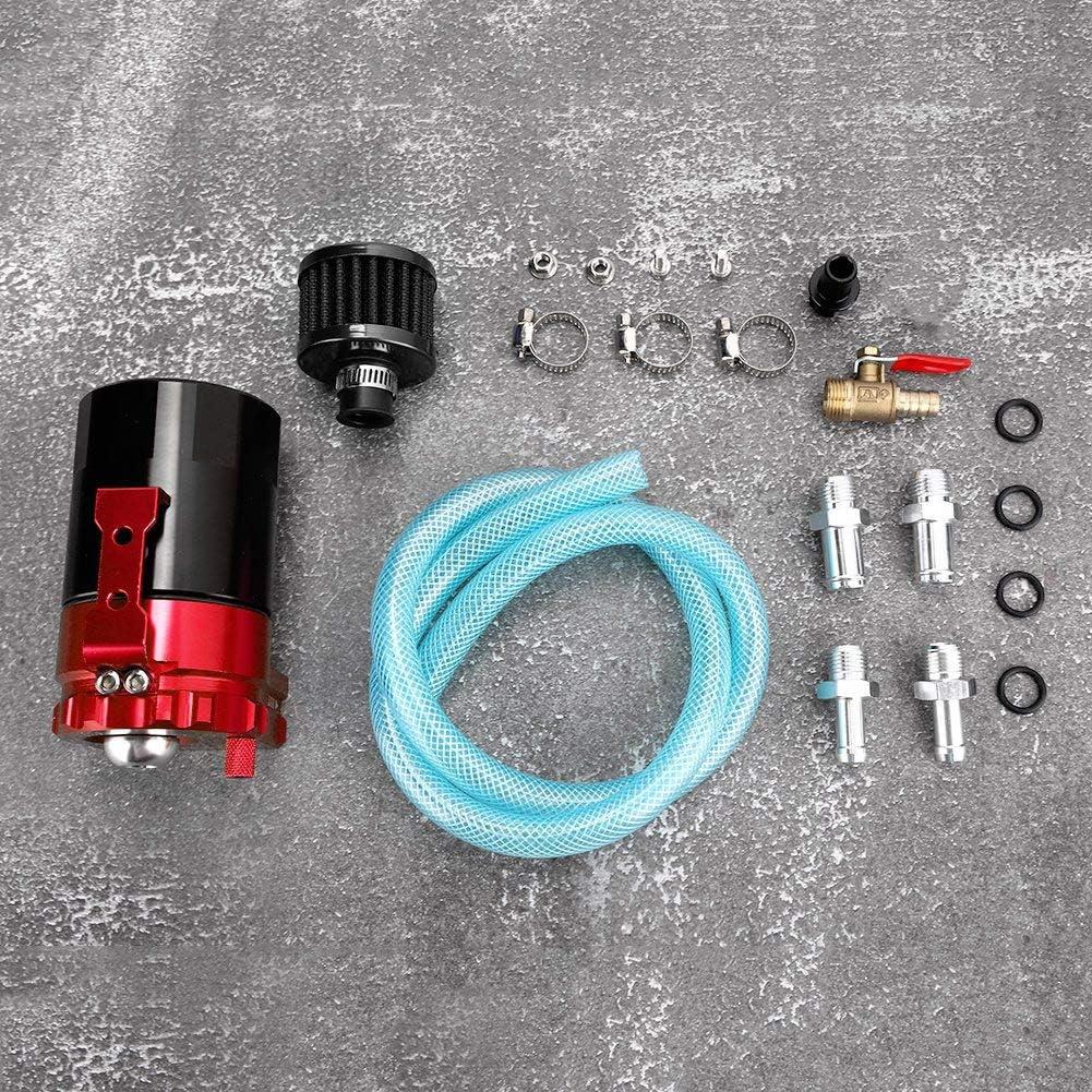 Universal Car Oil Catch Can Kit Black Blue 300ML Aluminum Polish Baffled Engine Air Oil Separator Tank Reservoir Car Engine Catch Tank Reservoir Breather