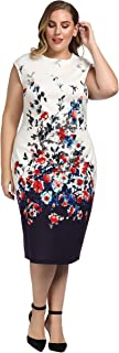 Chicwe Women's Stretch Plus Size Floral Print Shift Dress with Cap Sleeves 1X-4X
