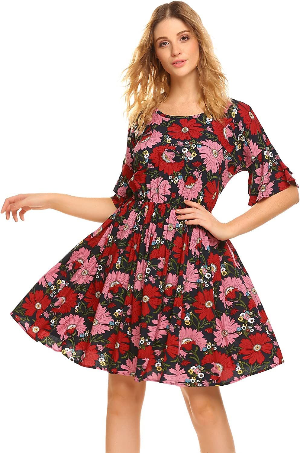 BEAUTYTALK Womens Floral Print Ruffle Sleeve Hollow Out Belted A Line Midi Dress