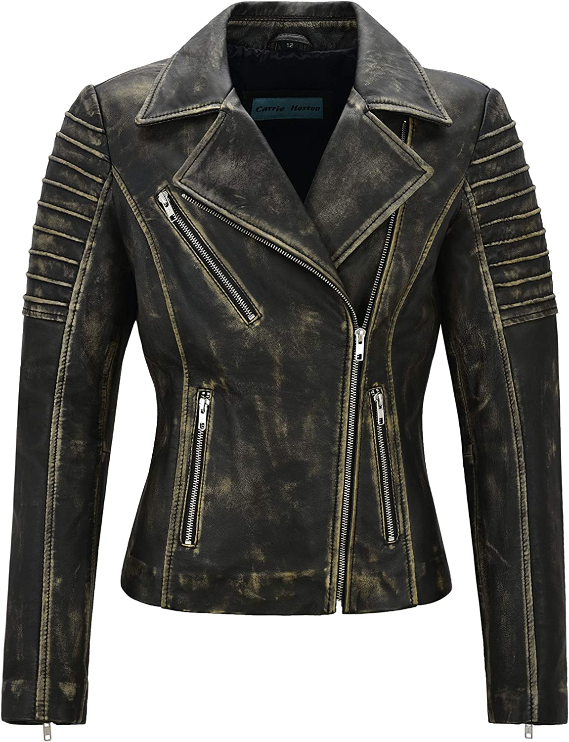 Carrie CH Hoxton Women's Leather Jacket Fashion Design Black Rust Beige Vintage Lambskin Biker Style 9334