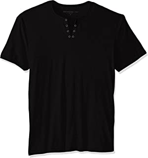 John Varvatos Star USA Men's Short Sleeve Eyelet Henley Shirt, Black, X-Small