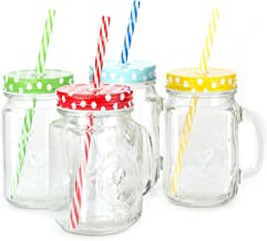 Mason Jar Mugs with Handle, multi COLORED Lids and Plastic Straws. 16 Oz. Each. Old Fashion Drinking Glasses - pack of 4 b...