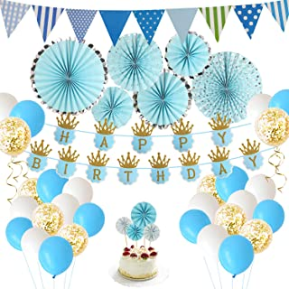 Birthday Party Decoration Blue and Gold Boys 1st Theme Kit Set Happy Birthday Banner for Baby Birthday Party Supplies