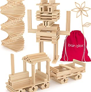 Brain Blox Wooden Building Blocks for Kids - Building Planks Set, STEM Toys for Boys and Girls (100 Pieces)