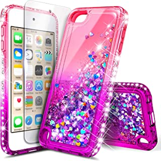 iPod Touch 7th /6th /5th Generation Case, iPod Touch 7/6/5 with Tempered Glass Screen Protector for Women Girls Kids, NageBee Glitter Sparkle Liquid Floating Waterfall Durable Cute Case -Pink/Purple