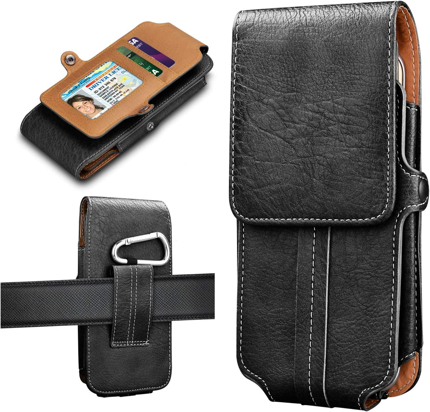 Tiflook Phone Holster for iPhone 12 11 XR Samsung Galaxy S21 S20 S10 4G S9 S8 A10e J7 LG K31 Aristo 5 K40 K30 G8 G7 G6 Moto G7 Play E6 X4 Leather Belt Clip Case Cell Phone Pouch with Card Holder,Black