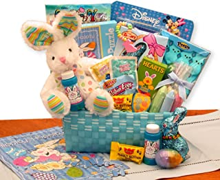 Little Bunny Tails Blue Easter Gift Basket Just For Boys with Easter Candy and Chocolates
