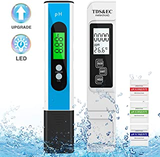 HIRALIY PH Meter, 3 in 1 TDS & EC& Thermometer Digital PH Meter Water Quality Tester, PH Meter with LED Light, 0.01 High Resolution, for Drinking Water, Aquarium, Swimming Pool, Agriculture