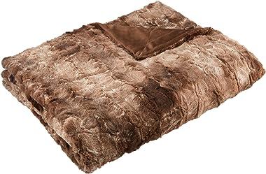 """Amazon Brand – Pinzon Faux Fur Throw Blanket 63"""" x 87"""", Alpine Brown"""