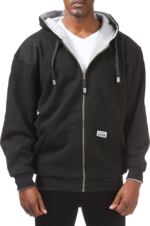 Pro Club Men's Full Zip Reversible Fleece and Thermal Hoodie