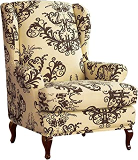 Longma Wingback Chair Sofa Slipcover Covers Floral Printed Stretchy Armchair Covers 2 Piece Spandex Polyester Fabric Cover...