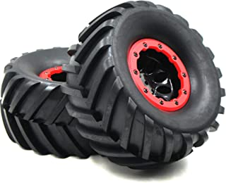2pcs RC 2.2 Mud Badland Snow Tires Tractor Tread Tyres Height 130mm & 2.2'' Beadlock Wheel Rim
