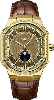 ساعة كوارتز بعرض انالوج وسوار من الجلد للرجال من جيه بي دبليو
