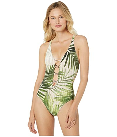 Vince Camuto Tropical Palm Strappy Plunging V-Neck X-Back One-Piece (Fern) Women
